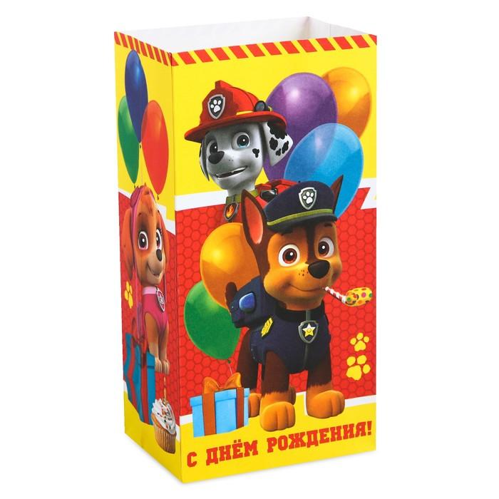 """Щенячий патруль. Щенячий патруль. Пакет подарочный без ручек """"С днем р-р-рождения!"""", 10х19,5х7 см"""