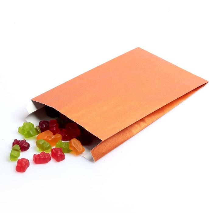 Пакет подарочный, металлизированный, апельсиновый, 25 х 40 см