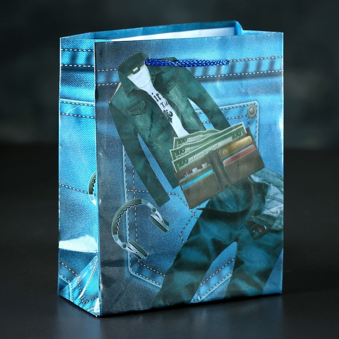 Пакет ламинированный «Джинсы», 12 х 15 х 5 см