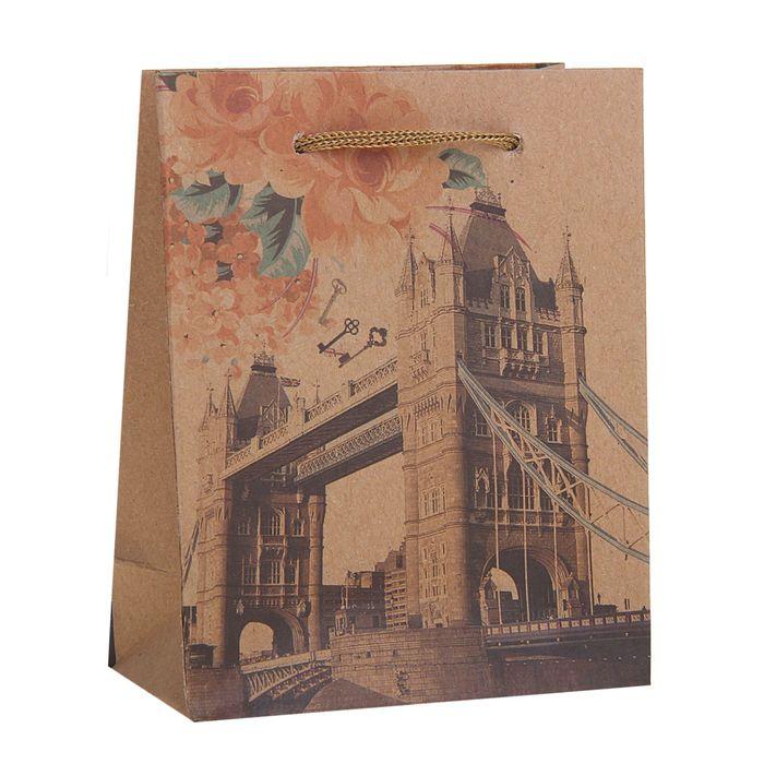 "Пакет крафт ""Лондон"", 11,5 х 6 х 14,5 см"