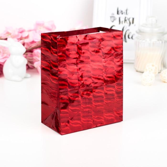 Пакет голографический, красный, 11,5 х 6,5 х 14,5 см
