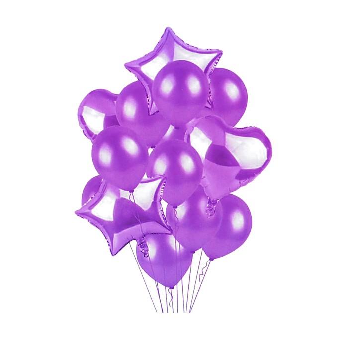 """Букет из шаров """"Сердца и звезды"""", латекс, фольга, набор 14 шт, цвет фиолетовый"""