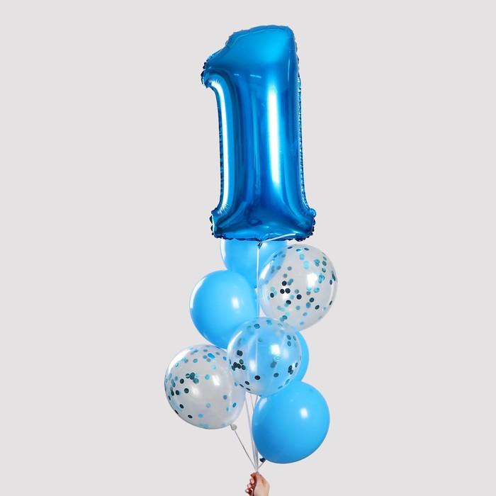 """Фонтан из шаров """"1 годик"""", для мальчика, с конфетти, латекс, фольга, 8 шт."""