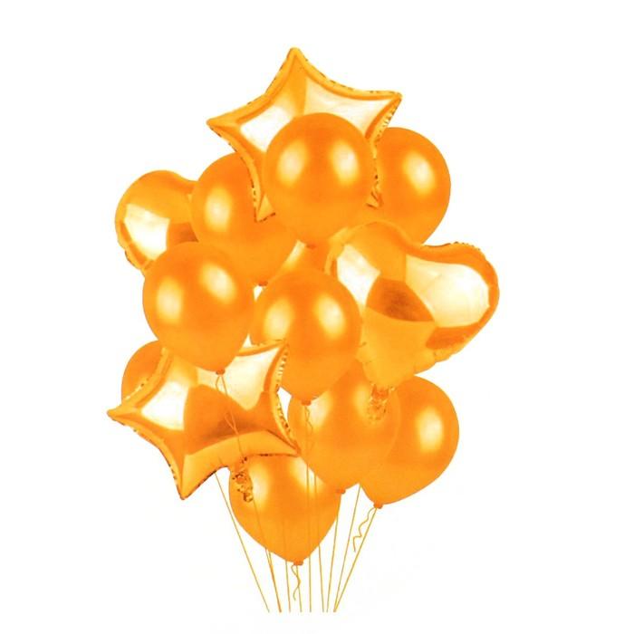 """Букет из шаров """"Сердца и звезды"""", латекс, фольга, набор 14 шт, цвет золотой"""