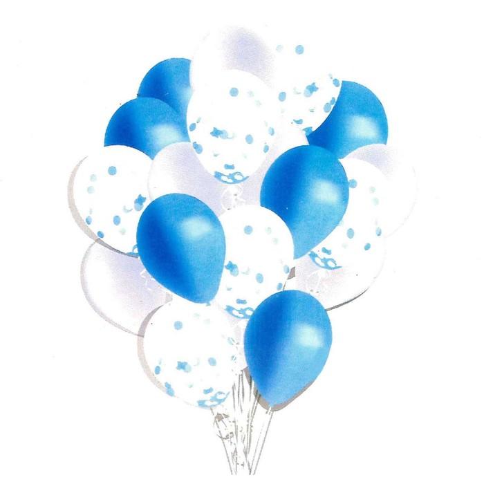 """Букет из шаров """"Мечта романтика"""", латекс, с конфетти, синий, набор 18 шт."""