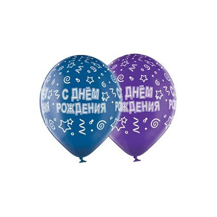"""Шар латексный 14"""" """"С днем рождения"""", серпантин, кристалл, шелк, набор 25 шт,МИКС"""