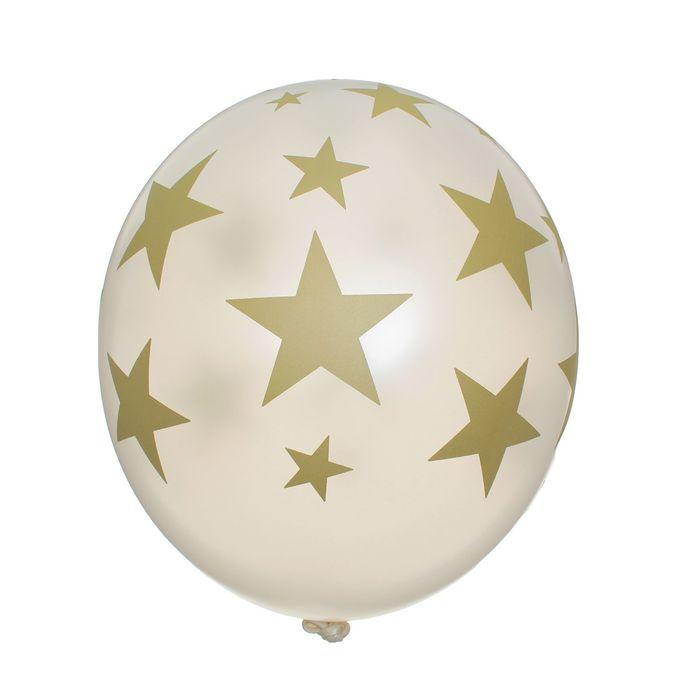 """Шар латексный 14"""" """"Золотые звёзды"""", кристалл, шелкография, набор 25 шт., цвет перламутр"""