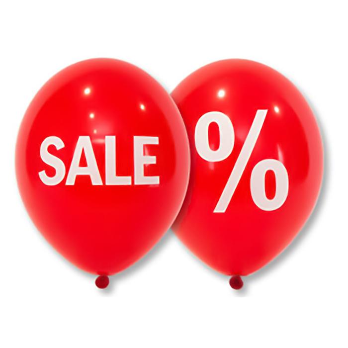 """Шар латексный 14"""" """"Sale %"""", 2 ст., набор 50 шт., красный"""