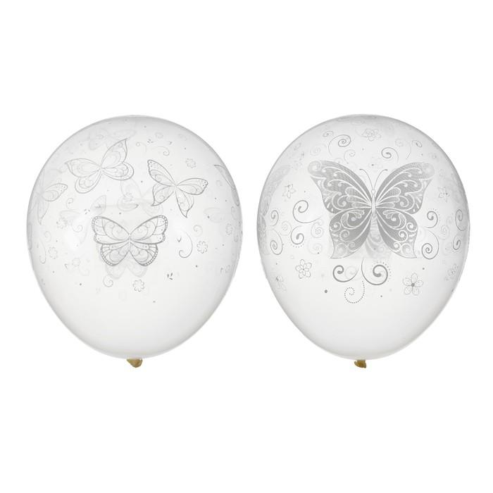 """Шар латексный 12"""" """"Бабочки"""", прозрачный, 3 дизайна, кристалл, набор 50 шт."""