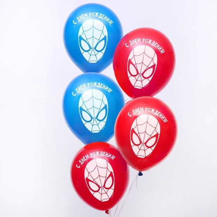 """Воздушные шары «С Днём Рождения», Человек-паук, 5 шт., 12"""""""