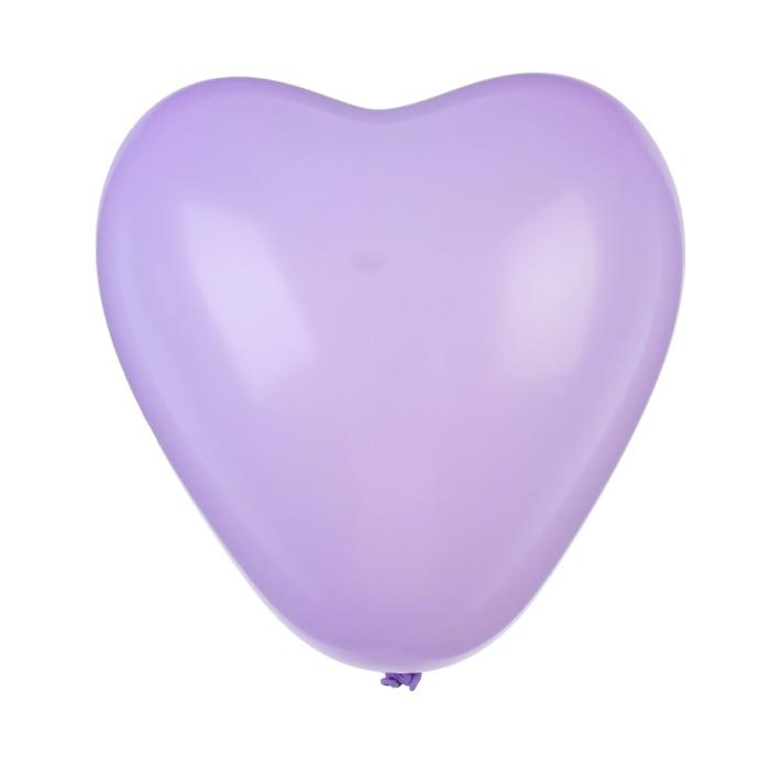 """Шар латексный 12"""", сердце """"Макарун"""", набор 15 шт, цвет фиолетовый"""