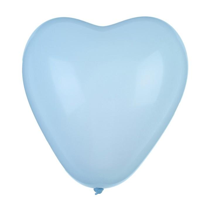 """Шар латексный 12"""", сердце """"Макарун"""", набор 15 шт, цвет нежно-голубой"""