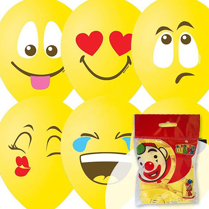 """Шар латексный 12"""" """"Эмоции. Смайл"""", пастель, 1-сторонний, набор 10 шт., цвет жёлтый"""