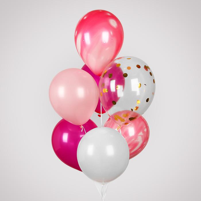 """Шары латексные 12"""" с лентой, прозрачные и цветные, набор 10 шт., розовый МИКС"""