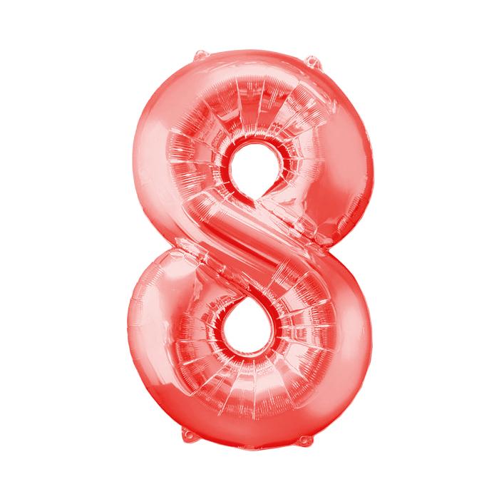 """Шар фольгированный 32"""", цифра 8, индивидуальная упаковка, цвет красный"""