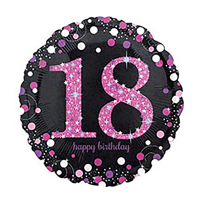 "Шар фольгированный 18"" Happy Birthday ""18"", 1 шт."