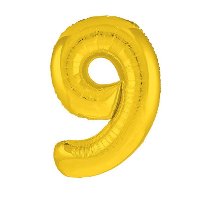 """Шар фольгированный 40"""" """"Цифра 9"""", цвет золотой, Slim"""