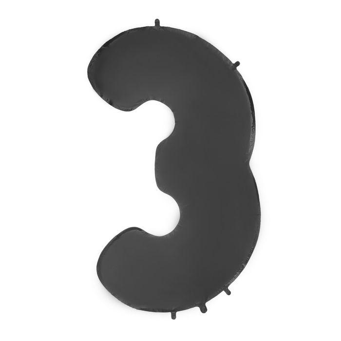 """Шар фольгированный 40"""" """"Цифра 3"""", цвет чёрный"""