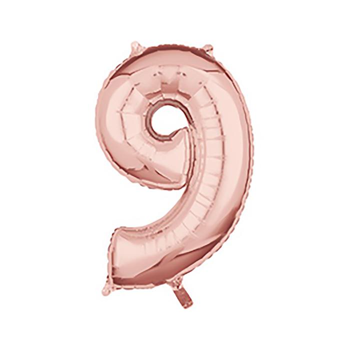 """Шар фольгированный 26"""" """"Цифра 9"""", цвет розовое золото"""