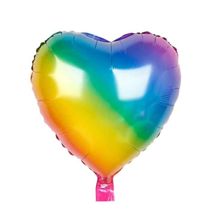 """Шар фольгированный сердце 17"""", разноцветный"""
