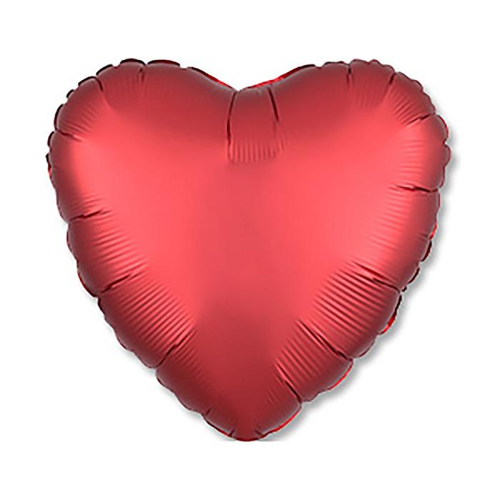 """Шар фольгированный 18"""" «Сердце», сатин, красный, 1 шт."""