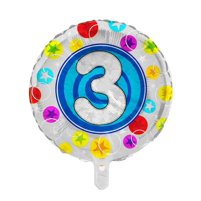 """Шар фольгированный 18"""" Цифра 3, круг синий"""