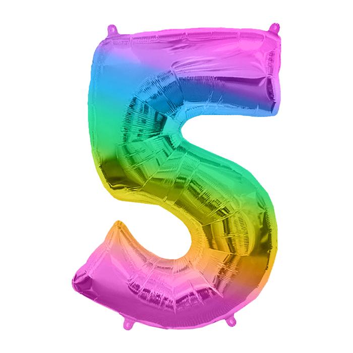 """Шар фольгированный 16"""" Цифра 5, 1 шт, разноцветный"""