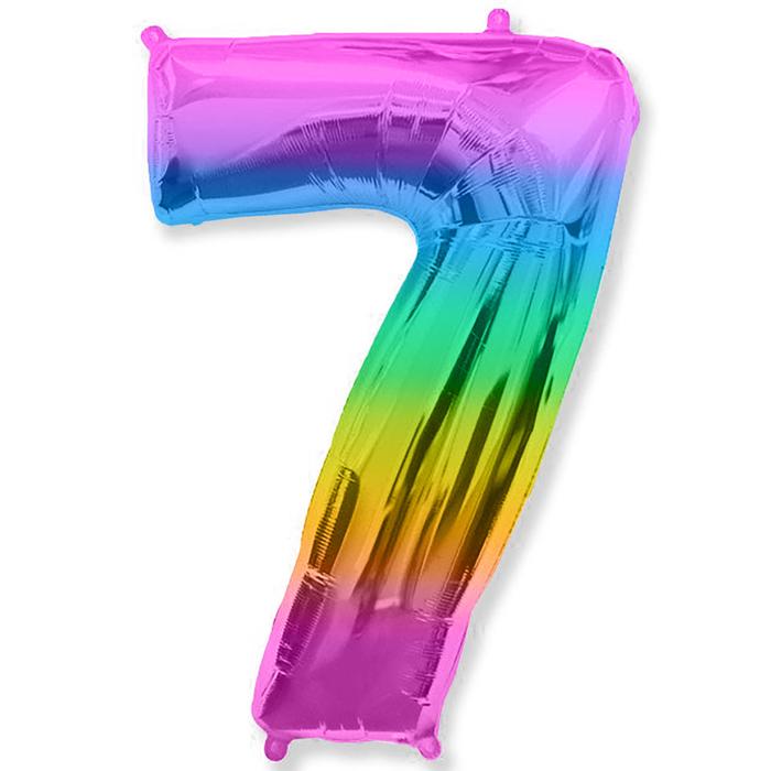 """Шар фольгированный 16"""" Цифра 7, 1 шт, разноцветный"""