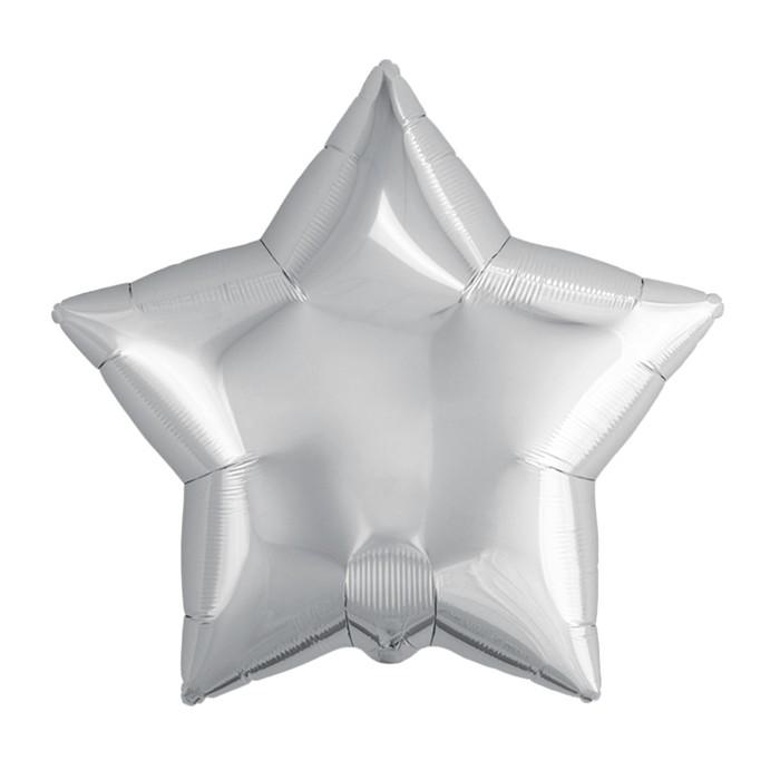 """Шар фольгированный 21"""" звезда, цвет серебряный"""