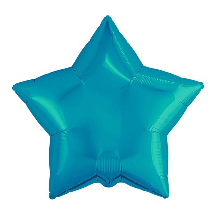 """Шар фольгированный 21"""" звезда, цвет бирюзовый"""