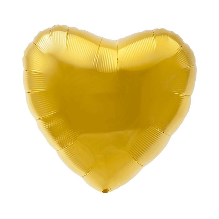 """Шар фольгированный 18"""" сердце, цвет золотой"""