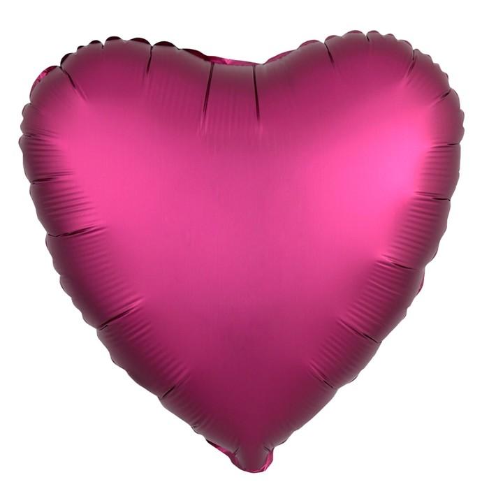 """Шар фольгированный 19"""" сердце, цвет гранатовый, мистик"""