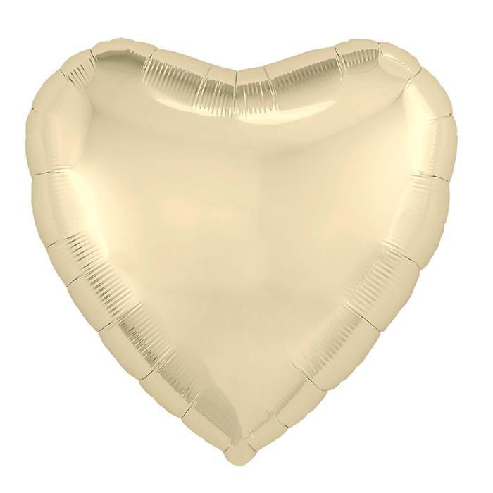"""Шар фольгированный 19"""", сердце, цвет шампань"""