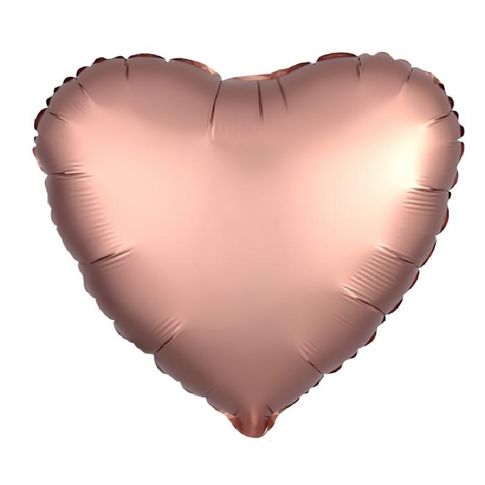"""Шар фольгированный 18"""", сердце, цвет розовое золото"""