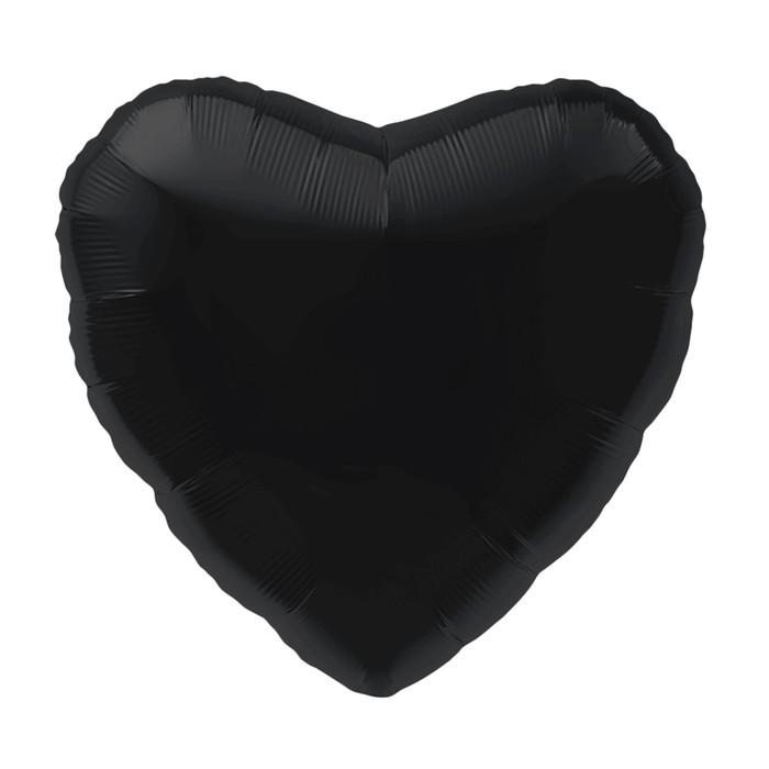 """Шар фольгированный 18"""" сердце, цвет чёрный"""