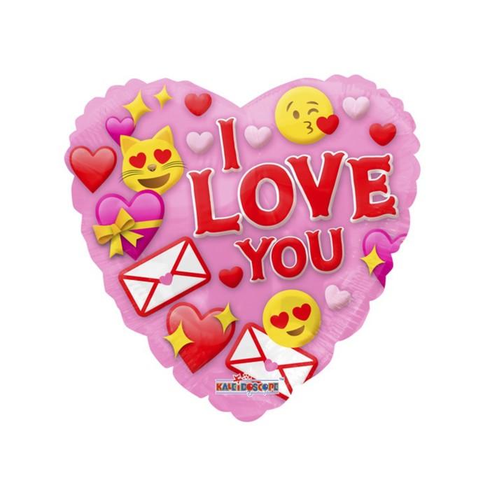 """Шар фольгированный 18"""" сердце """"Я люблю тебя"""", смайлы"""