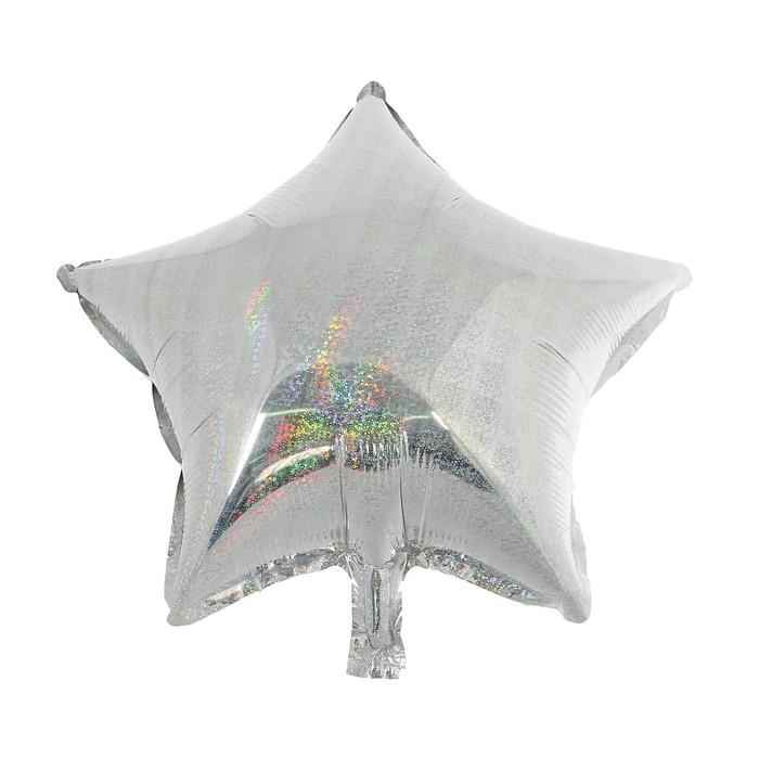 """Шар фольгированный 10"""" Звезда, голография, цвет серебряный, для палочки"""