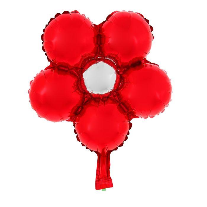 """Шар фольгированный 14"""" """"Цветок"""" для палочки, с клапаном, мини, цвет красный"""