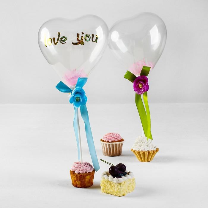 """Шар латексный 5"""" """"Люблю тебя"""", сердце с палочкой, ленты с цветами, розовые перья, набор 2 шт."""