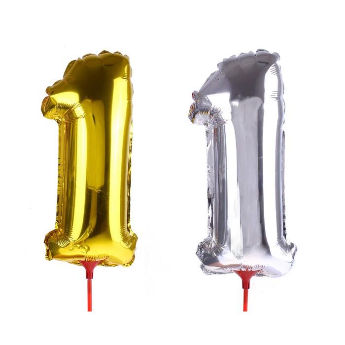 """Шар фольгированный 14"""", цифра 1, с палочкой, цвета МИКС"""