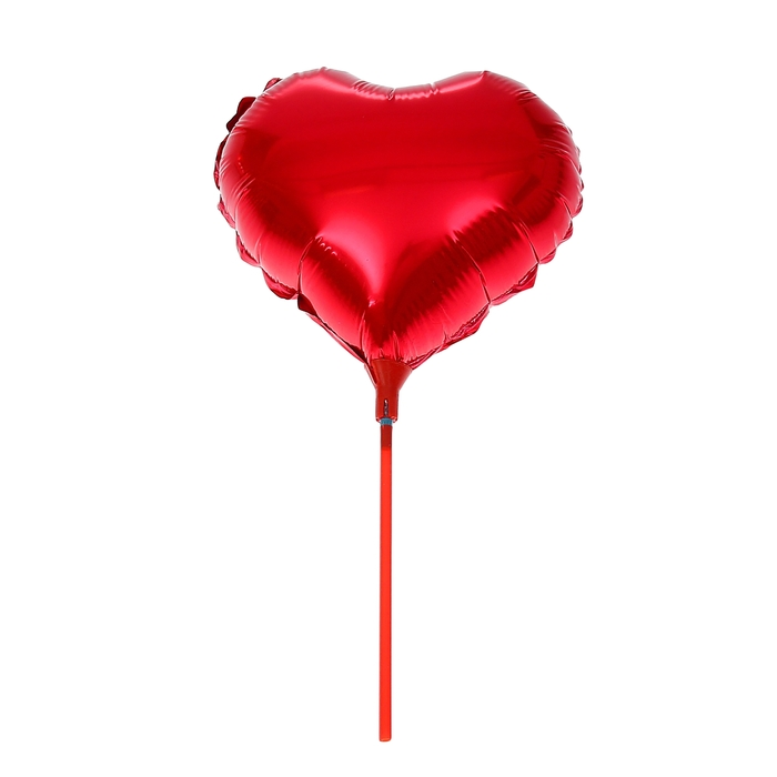 """Шар фольгированный 10"""" """"Сердце"""", зеркальный, с палочкой, цвета МИКС"""