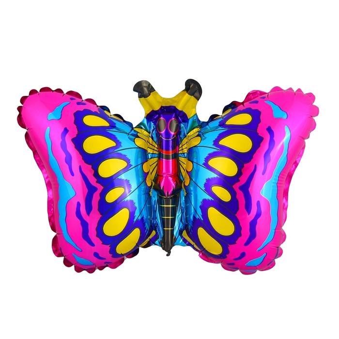 """Шар фольгированный 12"""" """"Бабочка"""" для палочки, цвет малиновый"""