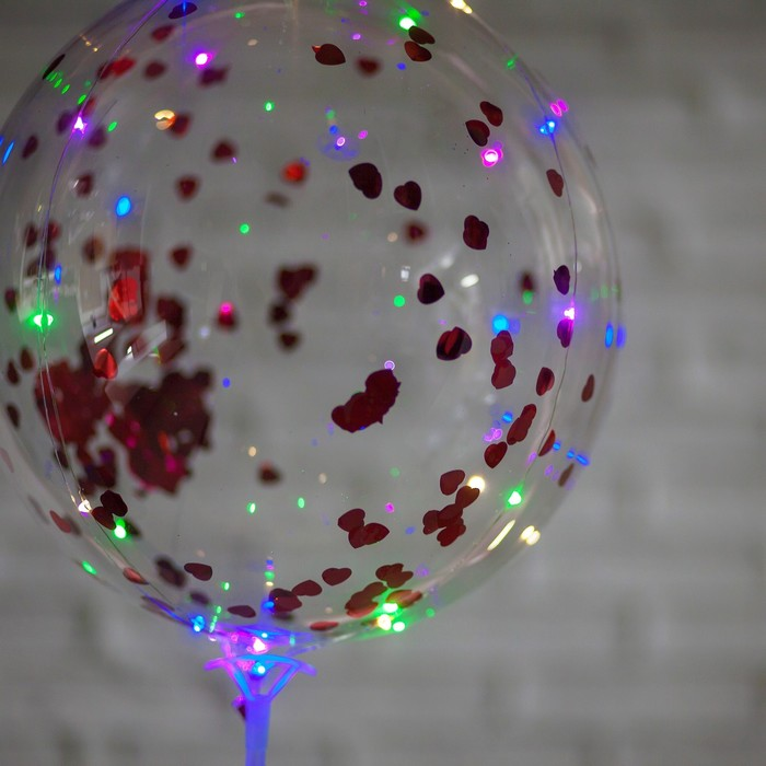 """Шар полимерный 20"""" светящийся, со светодиодной лентой, фольга, сердце, цвет красный"""