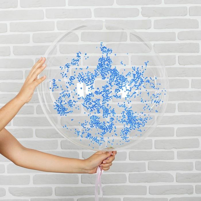 """Шар воздушный 18"""" """"Праздник"""" прозрачный + голубой наполнитель, лента, гирлянда, насос"""
