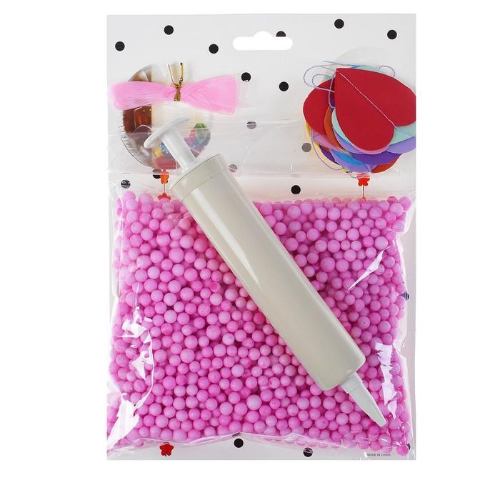 """Шар воздушный 18"""" """"Праздник"""" прозрачный + розовый пенопласт, лента, гирлянда, насос"""