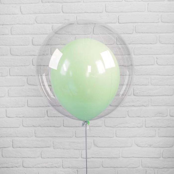 """Шар полимерный 20"""" """"Шар в шаре"""", макарун, цвет зеленый, 2 шт"""