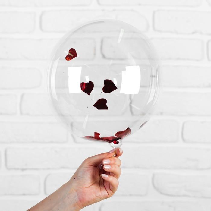 """Шар полимерный 12"""" """"Сфера"""", сердца, фольга, цвет красный"""