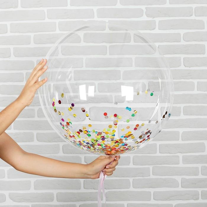 "Набор ""Шар прозрачный 18"", конфетти круги микс"
