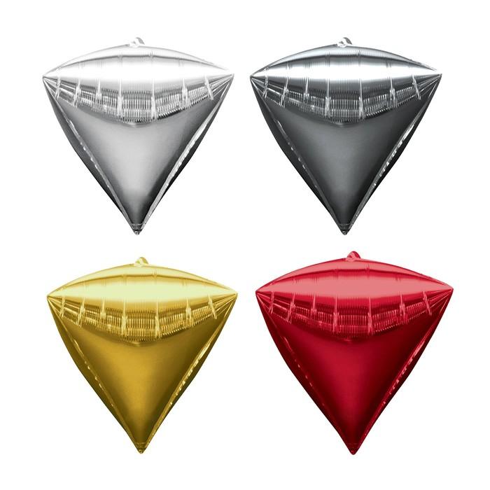 """Шар фольгированный 27"""", 3D-алмаз, набор 8 шт., цвета МИКС"""