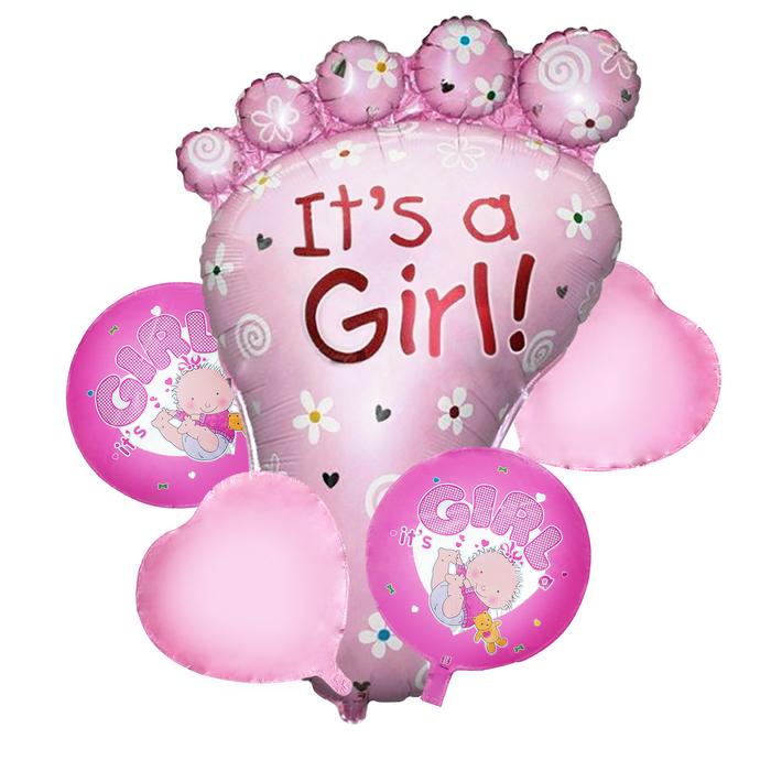 """Букет из шаров """"Рождение девочки"""", пяточка, фольга, набор из 5 шт."""